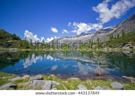 Beautiful alpine lake in the Swiss alps - Lago Efra - stock photo