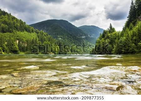 Beautiful alpine landscape with Calcescu lake in Parang mountains,Romania  - stock photo