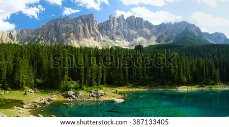 Beautiful alpine landscape with Dolomites mountains in Northern Italy - stock photo