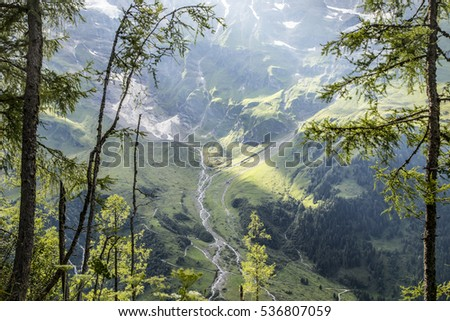 beautiful Alpine mountain green valley