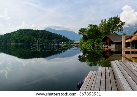 Beautiful Altaussee lake in the Austrian Alps - stock photo