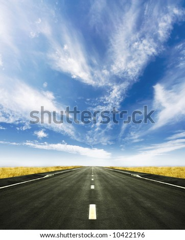 Beautiful altitude shot with blue cloudy sky and vivid yellow high grass. Central road leading to the horizon.