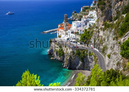 beautiful Amalfi coast of Italy  - view of Atrani - stock photo