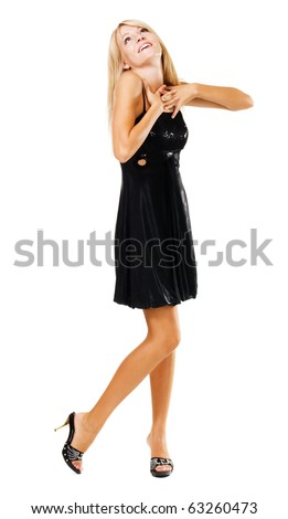 Beautiful amazed woman in black dress, isolated on white - stock photo