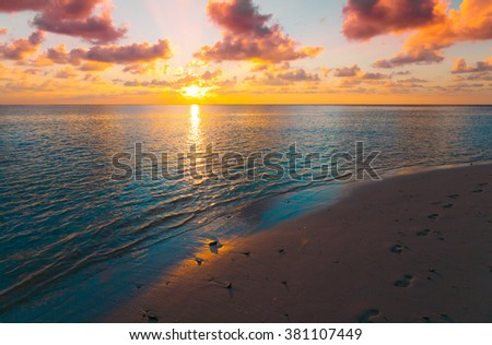 Beautiful amazing nature background. Tropical blue sea sunset. Luxury holiday resort. Island atoll about coral reef. Fresh  freedom. Adventure day. Snorkeling. Coconut paradise.  - stock photo