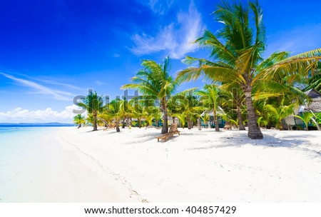 Beautiful amazing nature background. Tropical blue sun sea in Philippines . Luxury holiday resort. Island atoll about coral reef. Fresh freedom. Adventure day. Snorkeling. Coconut paradise - stock photo