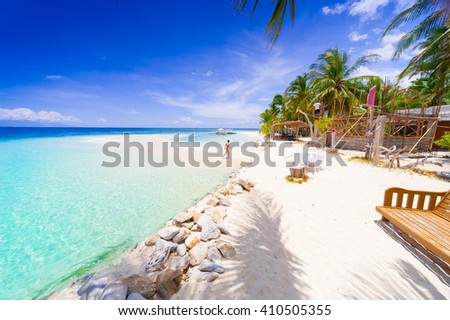 Beautiful amazing nature background. Tropical blue sun sea in Philippines . Luxury holiday resort. Island atoll about coral reef. Fresh freedom. Adventure day. Snorkeling. Coconut paradise