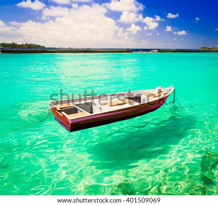 Beautiful amazing nature background. Tropical blue sun sea. Luxury holiday resort. Island atoll about coral reef. Fresh  freedom. Adventure day. Snorkeling. Coconut paradise. Beauty boat. - stock photo