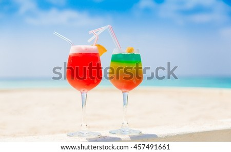 Beautiful amazing nature background. Tropical blue sun sea. Luxury holiday resort. Island atoll about coral reef. Fresh  freedom. Adventure day. Coconut paradise. Alcohol cocktail. - stock photo
