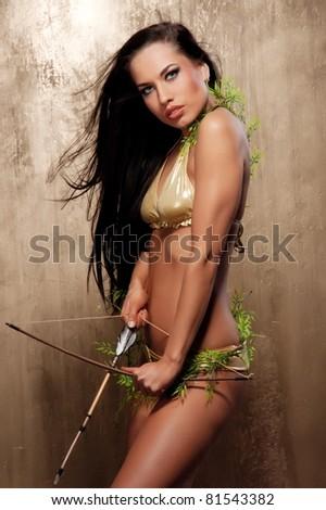 Beautiful amazon archer - stock photo