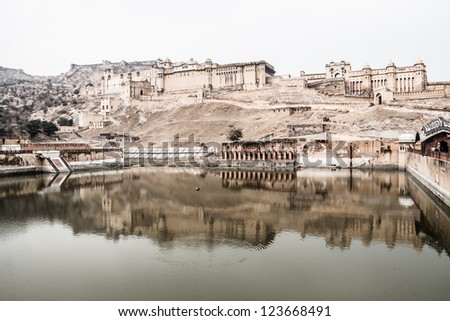 Beautiful Amber Fort near Jaipur city in India. Rajasthan ( HDR image ) - stock photo