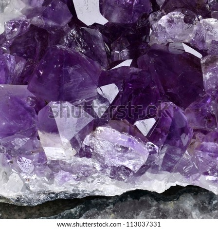 Beautiful amethyst druse close-up - stock photo