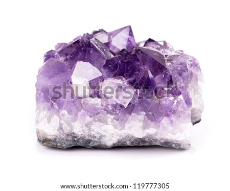 Beautiful amethyst druse close-up on white background - semiprecious gem used for jewels