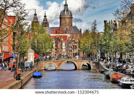 beautiful Amsterdam canals - stock photo