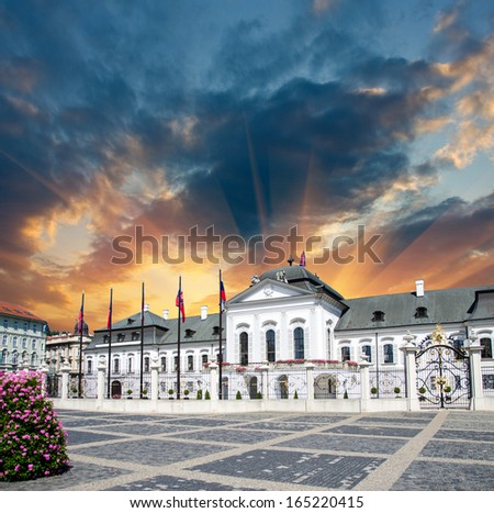Beautiful ancient building and square of Bratislava, Slovakia. - stock photo