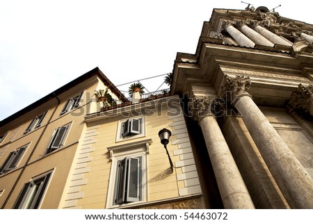Beautiful Ancient Buildings in Rome, Italy - stock photo
