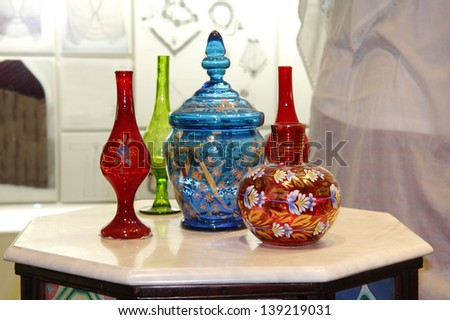 Beautiful ancient colourful Arabic flower vase