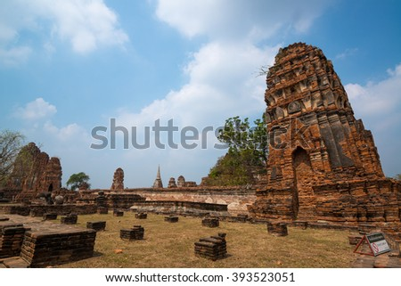 Beautiful ancient site in Wat Maha That Ayutthaya as a world heritage site, Thailand