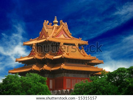 Beautiful ancient temple in the corner of Forbidden City - stock photo