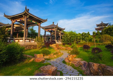 Beautiful ancient temple on the seaside with blue sky and fog, Dongtou island, Wenzhou, Zhejiang province, China - stock photo