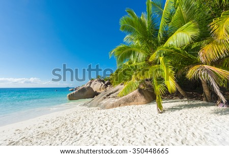 Beautiful and a famous beach Anse Lazio with granite boulders, Praslin island, Seychelles.  - stock photo