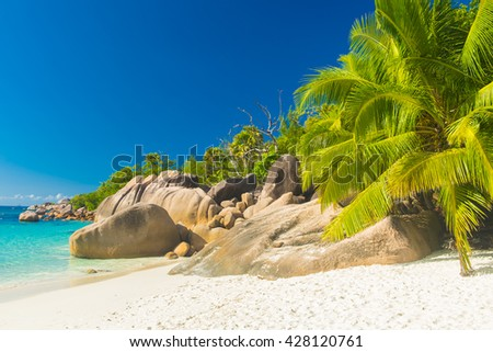 Beautiful and a famous beach Anse Lazio with granite boulders, Praslin island, Seychelles.  - stock photo