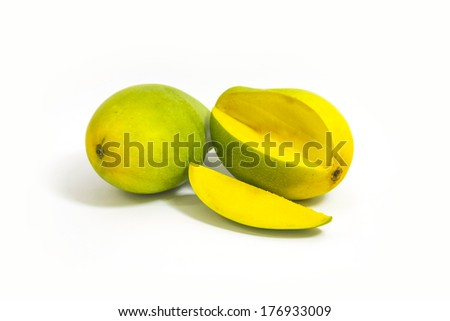 beautiful and appetizing of green-yellow mangoes on white background
