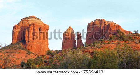Beautiful and blue sky and red rock of Sedona's Cathedral Rock - stock photo