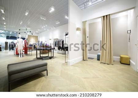 beautiful and clean interior of dressing room at the store - stock photo