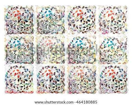 Beautiful and Colorful Lacy Leafy Quilt Style Background