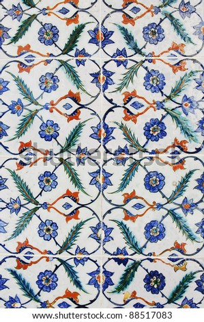 Beautiful and colourful turkish tiles. This is a traditional pattern and style used in Turkey from the Otoman empire. - stock photo