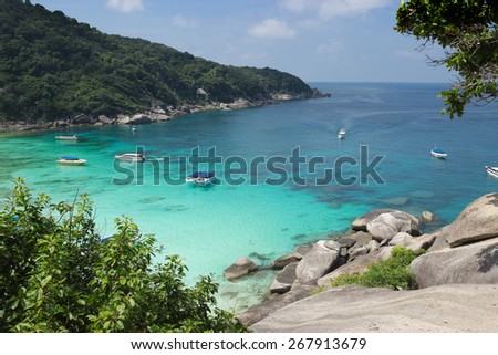 Beautiful and cosy Bay of the Andaman sea. Similan Islands National Park. Thailand - stock photo