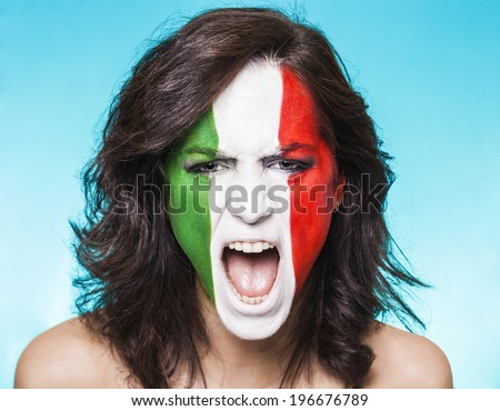 Beautiful and disappointed italian supporter screaming - stock photo