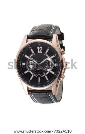 Beautiful and elegance leather wristwatch - stock photo