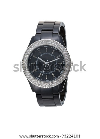 Beautiful and elegance wristwatch decorated by diamond - stock photo