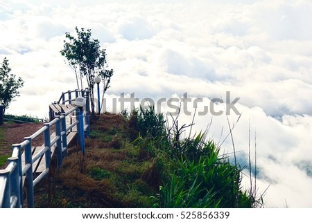 Beautiful and famous travel location The landscape photo, beautiful sea fog in morning time at Phu Tub Berk Viewpoint,Thailand.