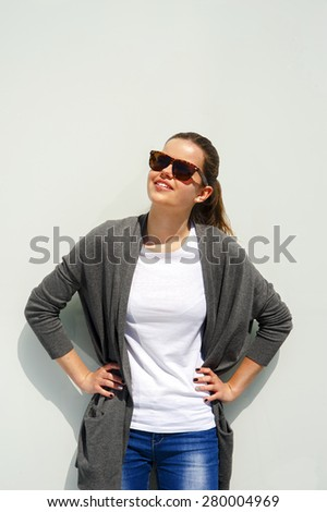 beautiful and fashion girl in sunglasses, close-up portrait, look up - stock photo
