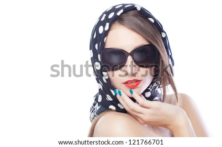 beautiful and fashion girl in sunglasses, close-up portrait, studio shot - stock photo