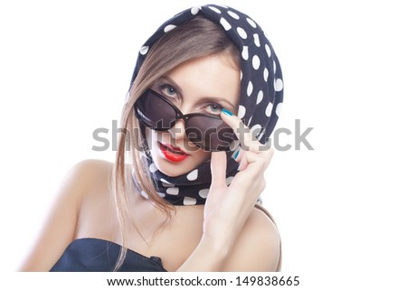 beautiful and fashion girl in sunglasses, close-up portrait, studio shot
