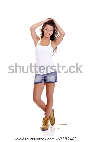 Beautiful and fashion young woman isolated on white background - stock photo