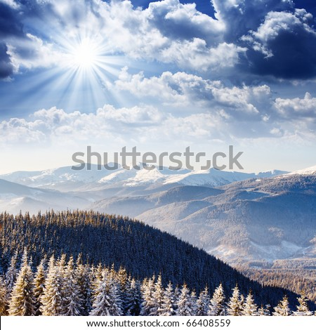Beautiful and frosty winter landscape in the mountains - stock photo