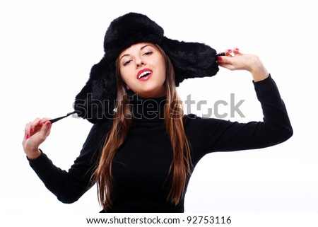Beautiful and happy girl in hat