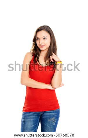 Beautiful and happy teenage girl isolated on white - stock photo