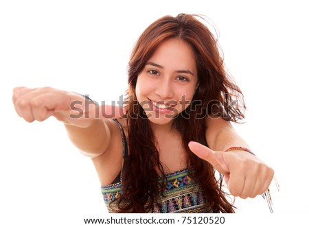 beautiful and happy woman looking at the camera with a sign of approval in your hands - stock photo