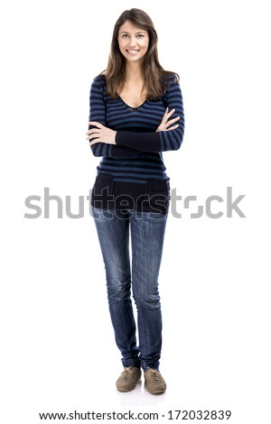 Beautiful and happy woman smiling over a white background - stock photo