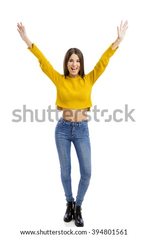 Beautiful and happy woman with both arms open, isolated over white background  - stock photo