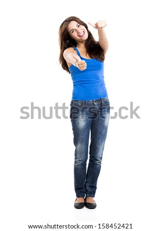Beautiful and happy woman with thumbs up, isolated over a white background