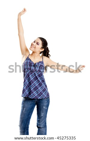 Beautiful and happy young woman, isolated on white with arms open - stock photo