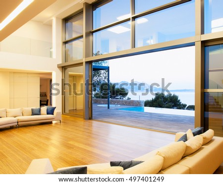 Beautiful and large living room interior. Modern spacious lounge or living room interior