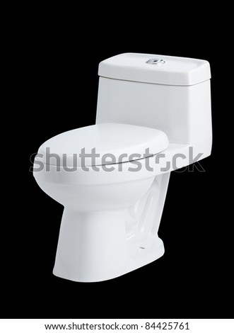 Beautiful and luxury toilet bowl in black background - stock photo